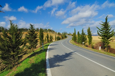 A scenic country road in the famous wine region of Chianti (Italy) Stock Photo