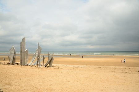 Omaha Beach - one of the principal landing sites of the D-Day invasion in Normandy region of France on June 6, 1944 during World War II