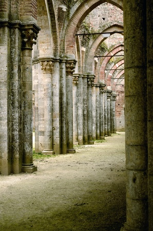 The ruins of San Galgano Abbey in Tuscany photo