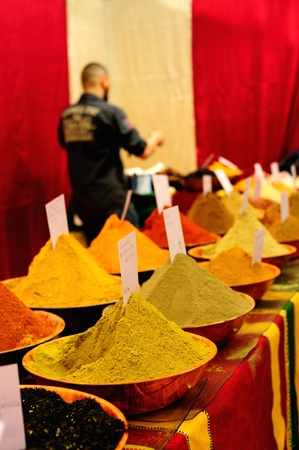 Beautiful variety of spices in a bazar in Florence photo