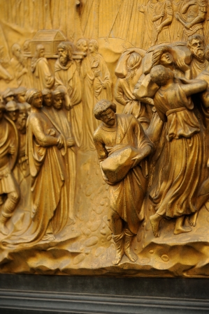 Ghiberti Paradise Baptistery Bronze Door Duomo Cathedral Florence Italy Door cast in the 1400s Stock Photo