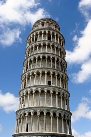 The famous leaning tower   in the ancient town of Pisa (Tuscany) photo