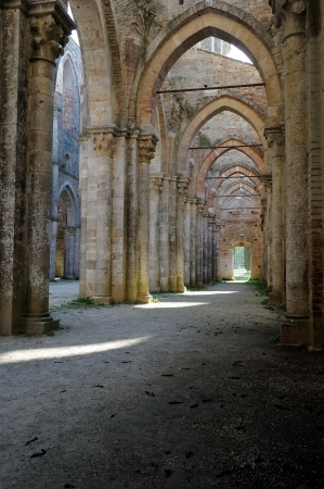 an impressive and beautiful gothic columnade in Tuscany photo