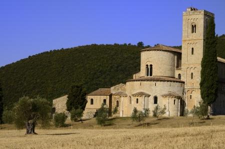 antimo: Sant Antimo Abbey near Montalcino in Tuscany, Italy Stock Photo