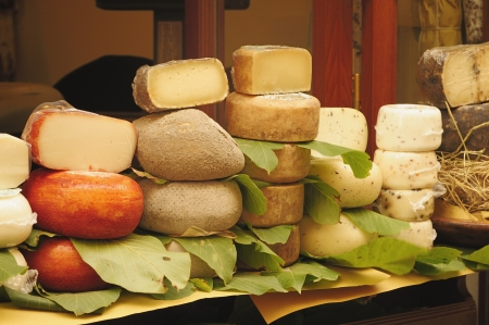 A beautiful choice of tuscan pecorino cheeses  Stock Photo