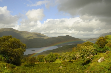 A beautiful scenic view on the lakes of Kerry (Ireland)