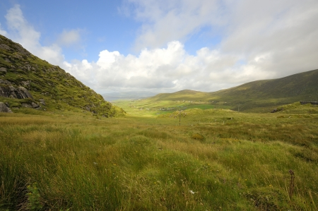 A beautiful green mountain landscape on Dingle peninsula, Ireland photo