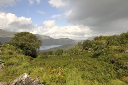 A beautiful scenic view on the lakes of Kerry  Ireland  photo