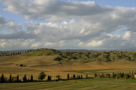 A beautiful tuscan   landscape with autumnal colors photo
