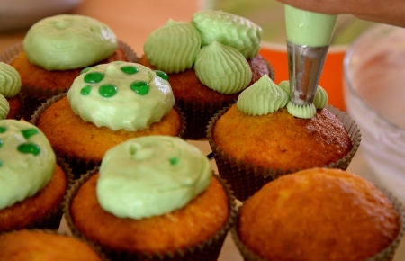sweats: The making of some tastefully sweet capecakes Stock Photo
