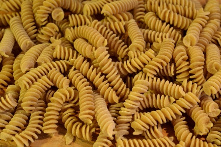 A close up of some raw fusilli photo