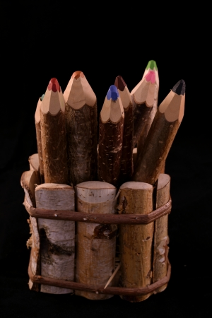 set of pencils stylized tree branch. isolated on the black photo