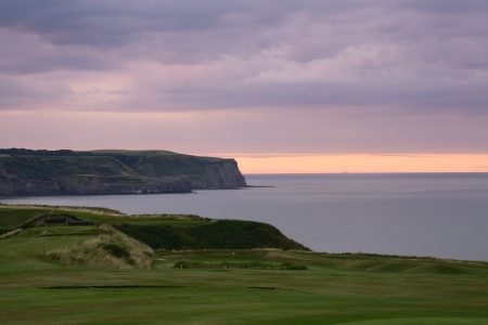The cliffs of Whitby in Yorkshire at the sunset