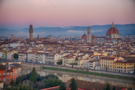 Sunset over Palazzo Vecchio and Cathedral of Santa Maria del Fiore  Duomo , Florence, Italy photo