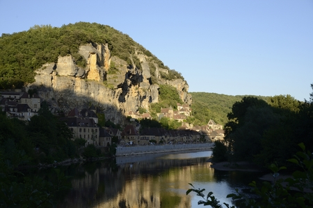 River view of the town of Roc Cageac, Dordogne, France photo