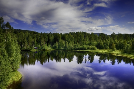 Panorama of Swedish lake in the summer time photo