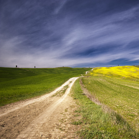 toskana: The beautiful colors of the spring in the landscapes of Crete Senesi in Tuscany