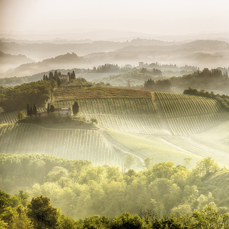 podere: A brautiful misty sun rise over the tuscan hills around San Gimignano