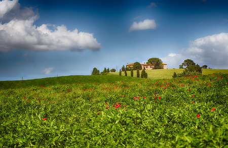 val d'orcia: Tuscany landscape with a typical farm house Stock Photo