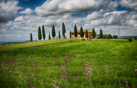 typical: Tuscany landscape with a typical farm house Stock Photo
