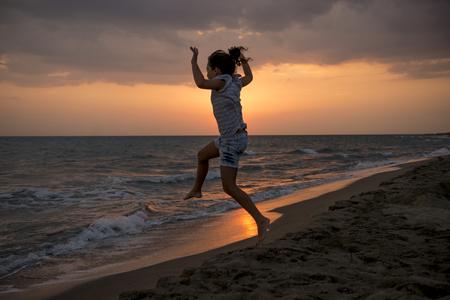 A beautiful summer sunset on a beach in summer