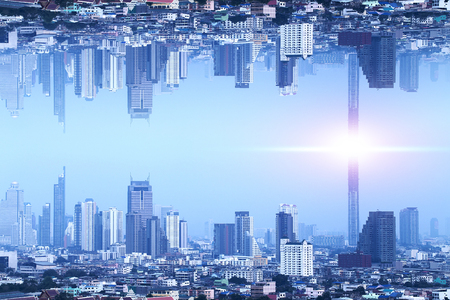 Bangkok Upside down city in inception Sci-fi futuristic fantasy effect style, Sci-fi Concept city Stock Photo