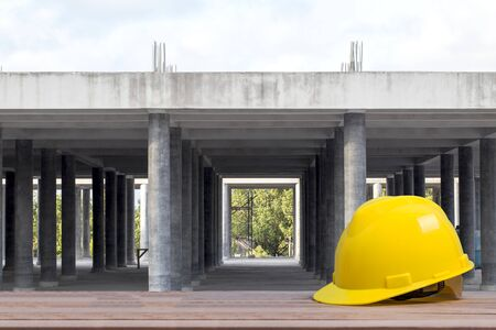 Safety helmet in construction site. Worker safety and protect head equipment tools Engineer concept