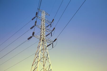 high voltage pole or High voltage tower on sky background