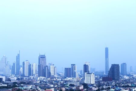 The modern building of Asia Business financial district and commercial in bangkok thailand Banco de Imagens