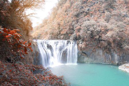 Beautiful Shifen waterfall nature scenery located in Pingxi District Taiwan