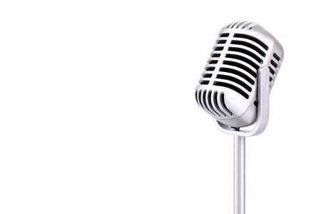 Microphone rétro isolé sur fond blanc Banque d'images