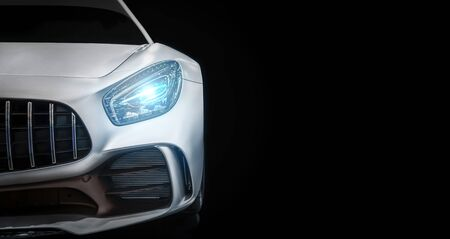 Modern luxury new white sport car , close-up a head light with your space Archivio Fotografico