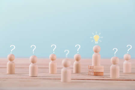 Leader get a new idea a brainstorming planning and strategy in competition success play , concept strategy and successful management or leadership