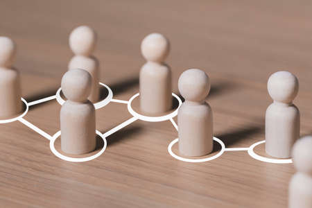 Social connections by white lines with people figurines , Call for cooperation creating a new team and action contacts communication in society Standard-Bild
