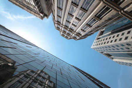 View of modern business skyscrapers glass and sky view landscape of commercial building in central city