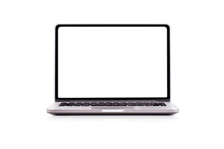 Laptop computer with blank screen isolated on white background Archivio Fotografico