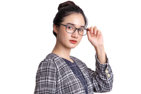 Portrait of beautiful young woman standing thinking of serious confident with spectacles isolated on white background
