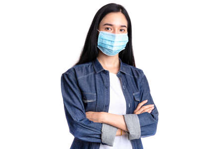 Young woman wearing medical face mask for protection corona virus or COVID-19 , Protect outbreak and flu epidemic Coronavirus or covid-19 concept