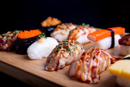 Japanese sushi set , Sushi nigiri rolls and sashimi served in japanese food restaurant menu Archivio Fotografico