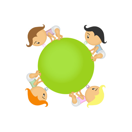 stylistic embellishments: illustration of group of happy babies going around circle Illustration