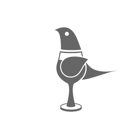 quizzical: Cute little cartoon bird in glass on the white background