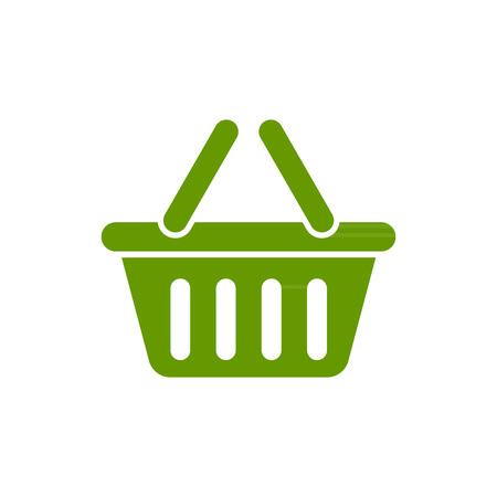 e commerce icon: Green basket icon  on the white background Illustration