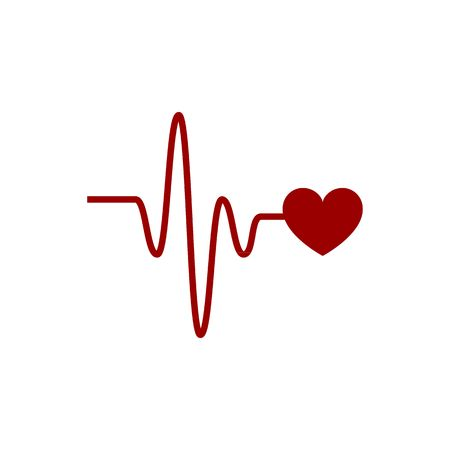 pulsating: Heartbeat vector icon with cardio link on the white background