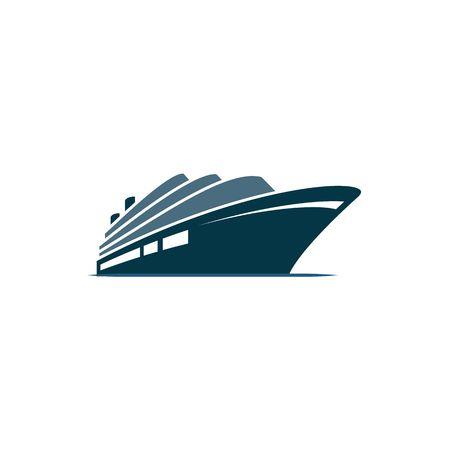 nave da crociera blu sul mare blu su sfondo bianco.