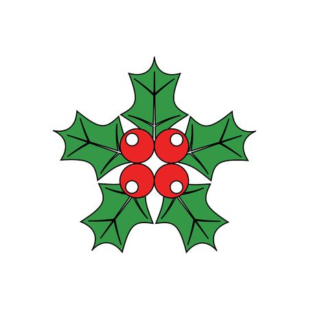 shinning leaves: Cartoon simple mistletoe decorative red and green ornament for christmas holly