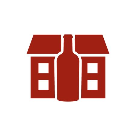 distillery: Red distillery house with the red bottle vector illustration isolated on the white background.