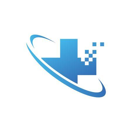 Medical pharmacy logo design template on the white background.- vector illustrator Illustration