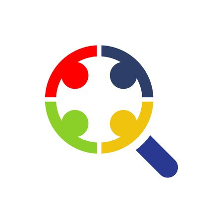 scrutiny: Vector illustration of a magnifying glass icon isolated on the white background. Illustration