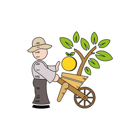agrarian: Cute young guy farmer with a big basket of vegetables showing thumbs up isolated on a white background.