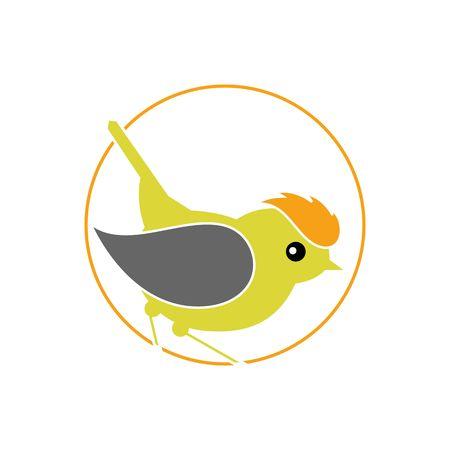 songbird: Stylized Bird - Firecrest, Goldcrest, Wren inside circle isolated on the white background. Illustration